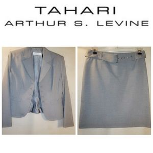 Tahari ASL Blazer Skirt Suit Gray Pinstripe 8P